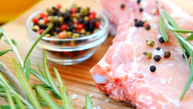Raw meat on the bone with spice video