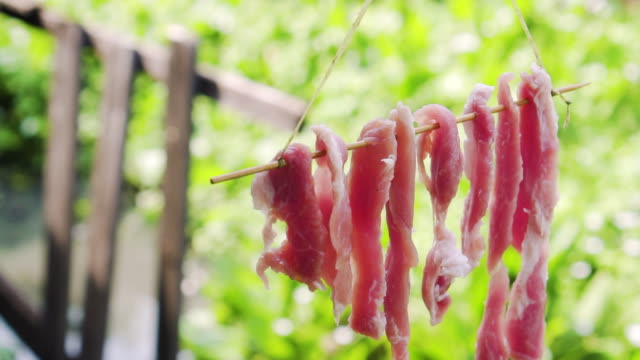 vídeos de stock e filmes b-roll de raw pork hanging with sunlight of a day. making of dried pork. preparing for cooking. traditional thai food. asian homemade menu with preservation way. slow motion - meat texture
