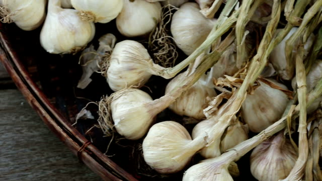 raw sun dried garlic with burn leaf on weaving rattan basket tray, dolly slider slow left to right - aglio alliacee video stock e b–roll
