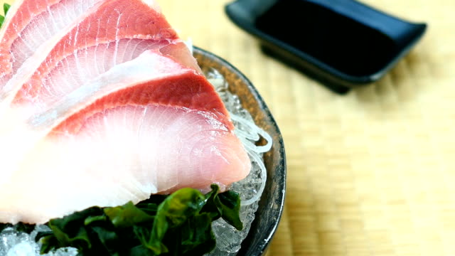 Raw with fresh hamachi meat fish sashimi video