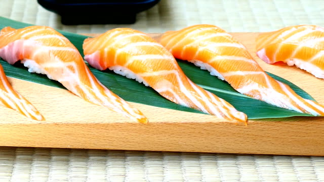 Raw with fresh salmon fish meat sushi video