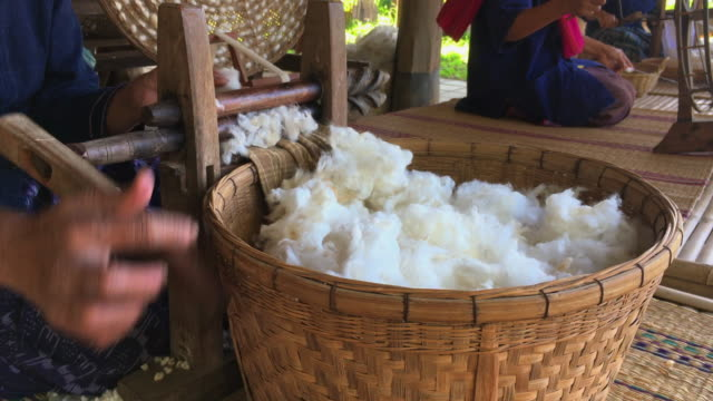 raw yarn production of  folk crafts in thailand. video