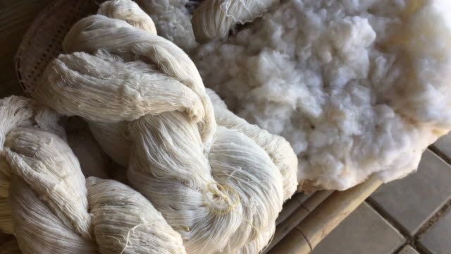 raw yarn production of  folk crafts in thailand. video