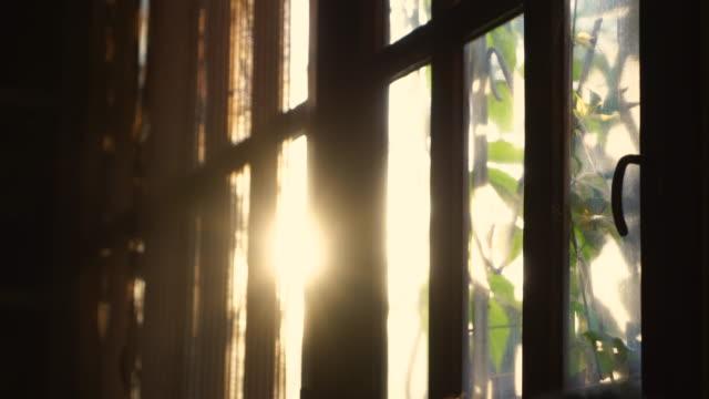 raggi di sole al tramonto attraverso le tende a rullo sulla finestra. - finestra video stock e b–roll