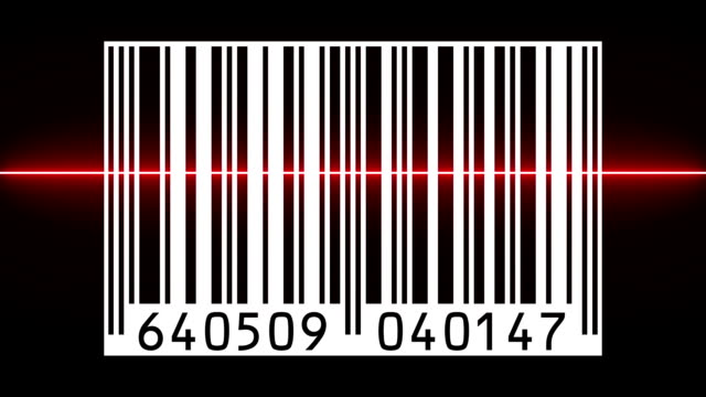 Reading a bar code with red beam video