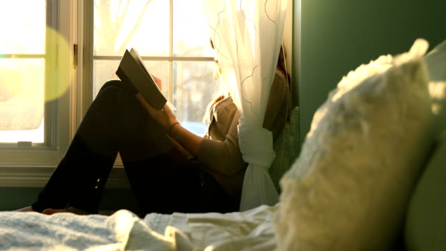 Reading Book at Bay Window Young woman reading at a bay window in the morning sunlight. bay window stock videos & royalty-free footage