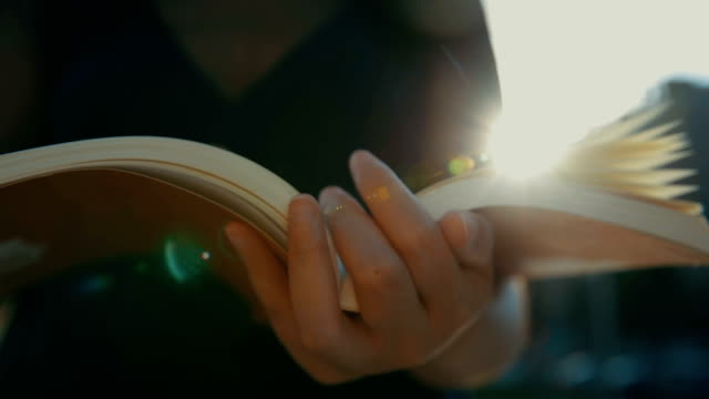 reading book with summer sunset light - libro video stock e b–roll