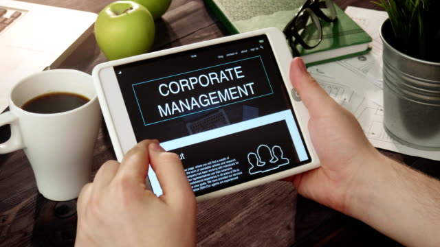Reading corporate management information using tablet computer video