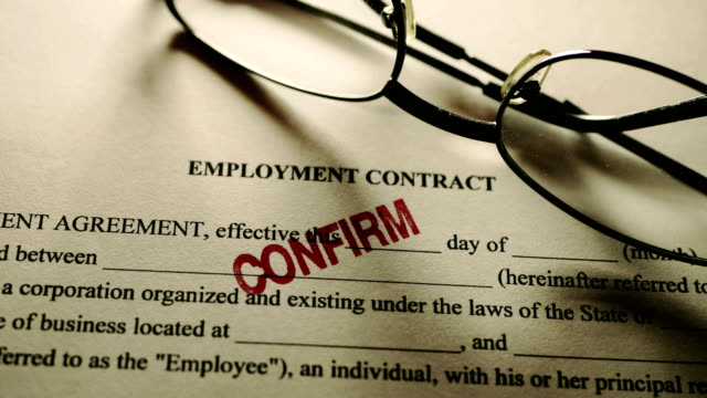 Reading glasses employment contract stamp confirm