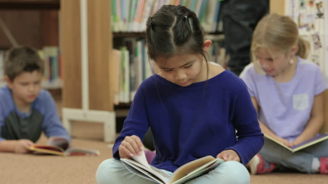 reading in the public library - primary school stock videos and b-roll footage