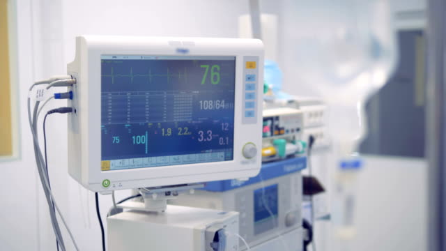 Readings of vital signs on a medical monitor are changing