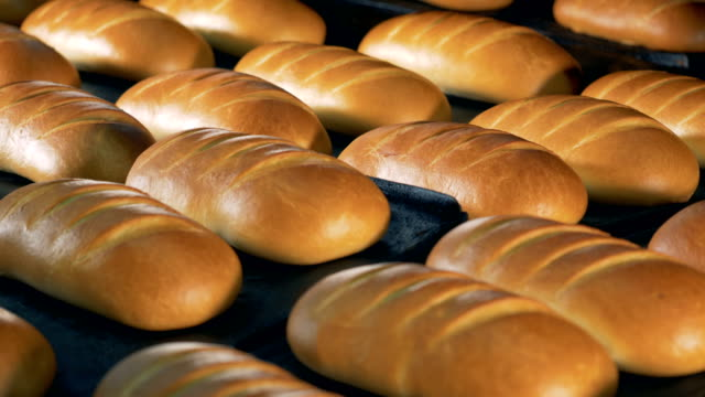 Ready made baguette comes out from oven. Food processing factory. Bread bakery. Ready made bread comes out from oven. Food processing factory. 4K. bun bread stock videos & royalty-free footage