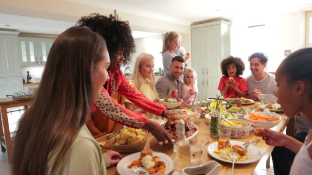 Ready to Start Eating! A close-up shot of a multi ethnic family ready to enjoy a roast dinner. roast dinner stock videos & royalty-free footage