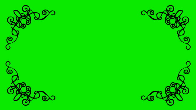Real Animated Cartoon Decorative Shaped Border Corners on a Green Screen Background video