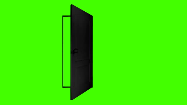 real black door open and close on green background. green screen isolated - portoni video stock e b–roll