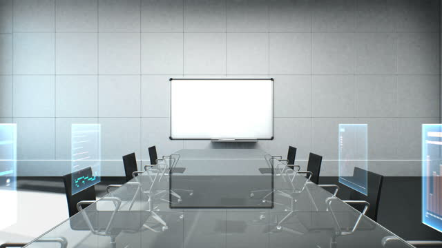 Real Conference room, brainstorming, forward moving camera, front white board with economic chart. 4k animation.