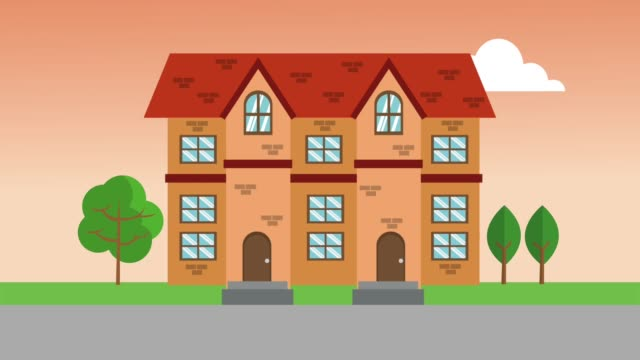 vídeos de stock e filmes b-roll de real estate house hd animation - obras em casa janelas
