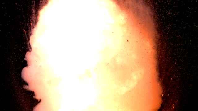 Real fireball explosion on black background, slow motion video
