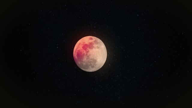 Real Full Blood Moon Night Sky with Passing Clouds and Stars video
