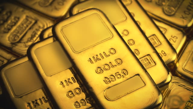 Real Gold Bullion Bars. Gold ingots. Close-up view of fine gold bar stacks. Concepts of success in business and finance. Concept of wealth. Raw footage of Gold Bars. video