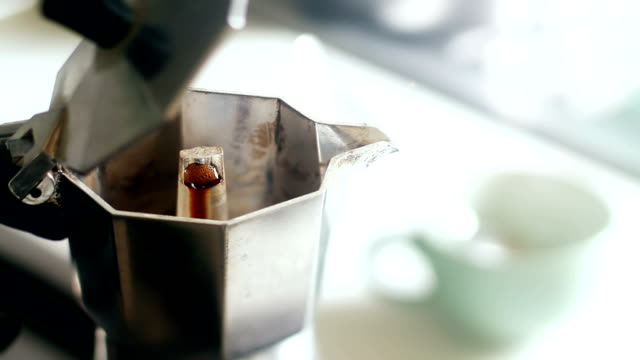 Real Italian Coffee Pouring Out from Moka video