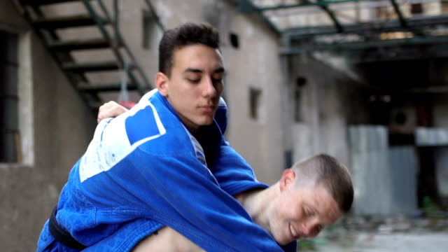 Real judo training in slow motion video