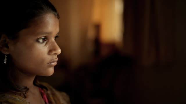 Real people from rural India: Close-up of indoor teenage girl. video