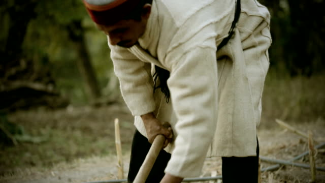 Real people from rural India: Man cutting wood with axe. video