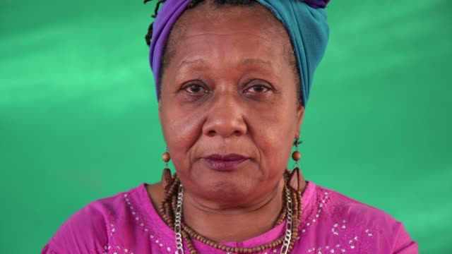 Real People Portrait Sad Elderly African American Woman video