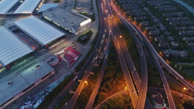 Real Time Aerial view of Shanghai Highway at night video