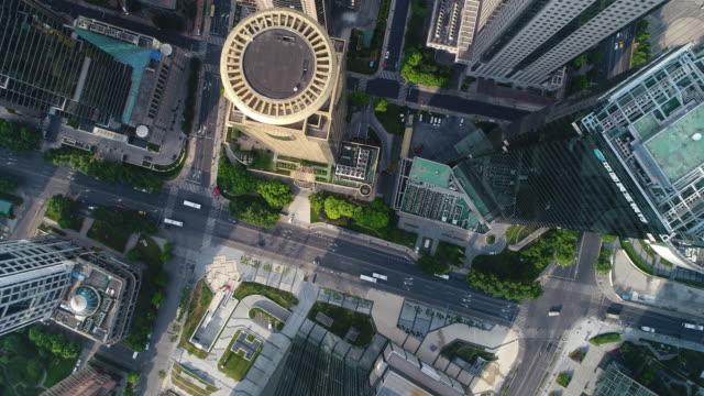 Real time Aerial view of Shanghai Lujiazui Financial District The modern buildings of the lujiazui financial district in Shanghai,China. shanghai stock videos & royalty-free footage