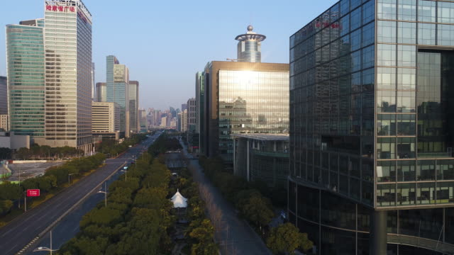 Real time Aerial view of the skyscrapers and urban road in shanghai video