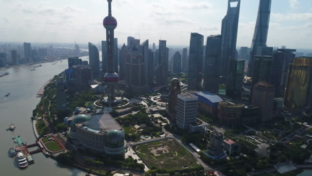 Real time Aerial view Shanghai Skyline video