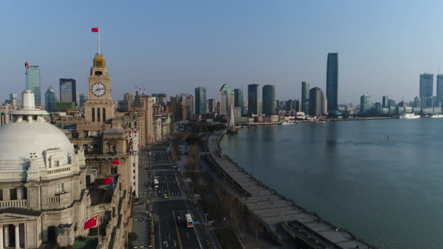 Real time Aerial view Shanghai Skyline The Bund and the architecture in the former French Concession Area in the morning,shanghai,china. shanghai stock videos & royalty-free footage