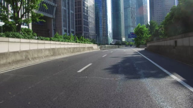Real time Car driving in lujiazui financial district, Shanghai, China video