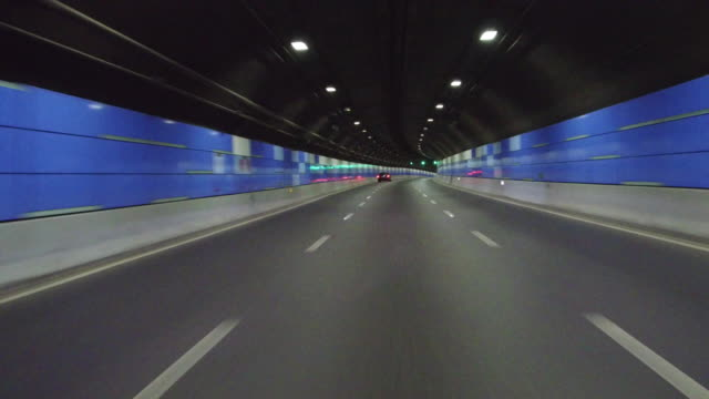 Real time Car driving in the bund tunnel,Shanghai,China video