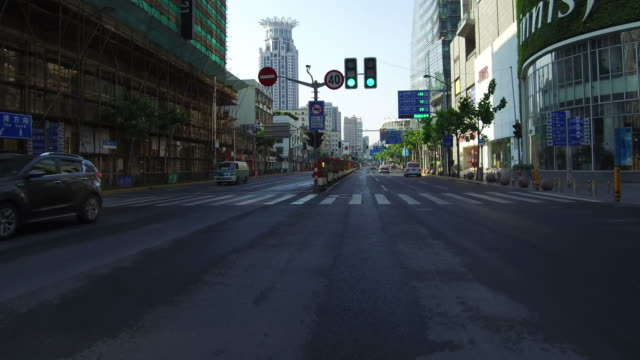 Real time Car driving on urban road,Shanghai,China video