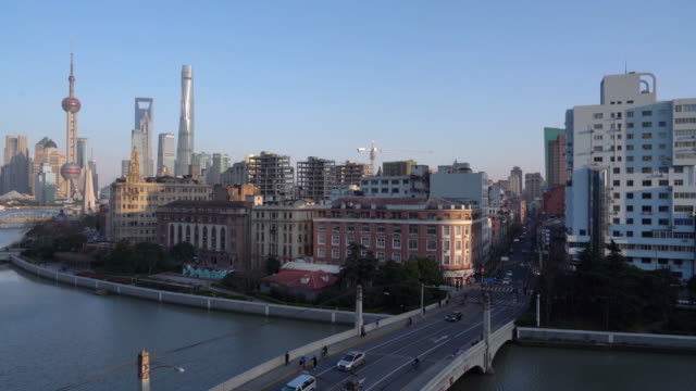 Real Time Shanghai Skyline at sunset video