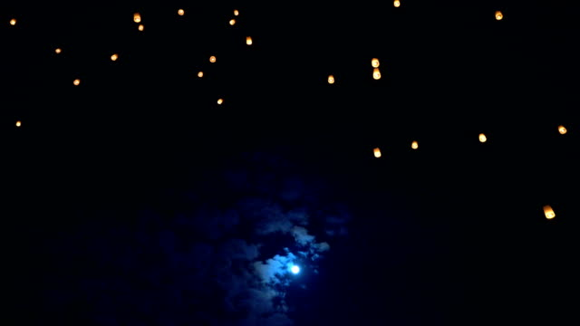 Real time Sky Lanterns with bull moon using for background in  Loi Krathong and Yi Peng Traditional Festival, Chiang Mai, Thailand