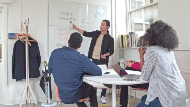 Real time video of a multi-ethnic business people brainstorming in conference room video