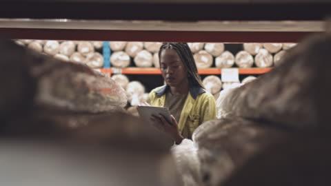 kadın işçi depo dijital tablet ile gerçek zamanlı video - abd dışı yer stok videoları ve detay görüntü çekimi