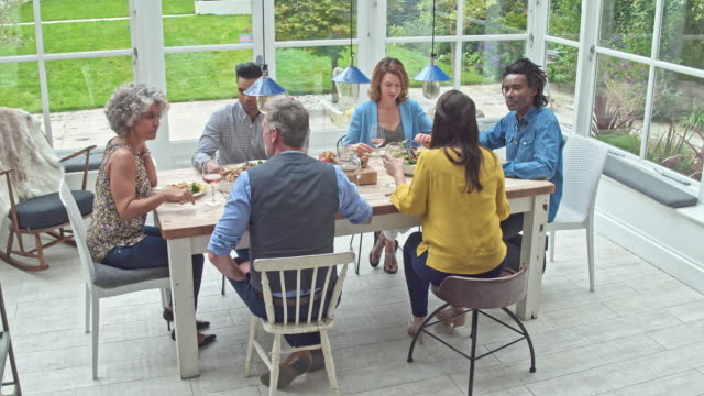 Real time video of multi-ethnic group of friends having lunch at home video