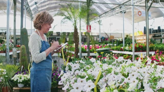 real time video of owner using digital tablet at greenhouse - krótkie włosy filmów i materiałów b-roll