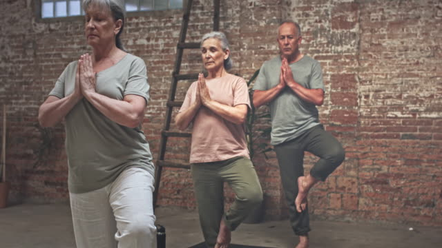 Real time video of Seniors Exercising in Yoga Class video