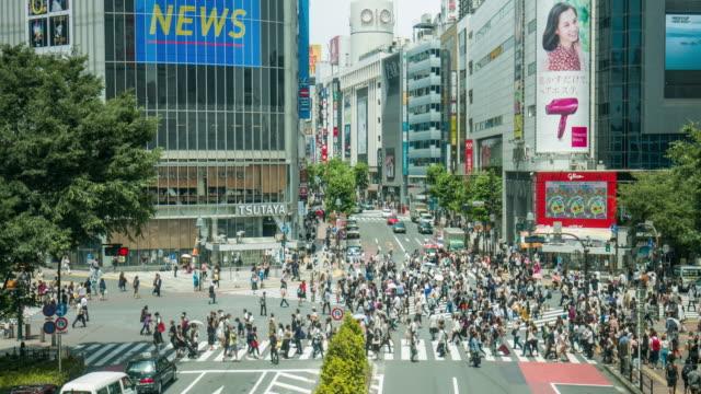 東京の渋谷の交差点のリアルタイム ビデオ - 交差点点の映像素材/bロール