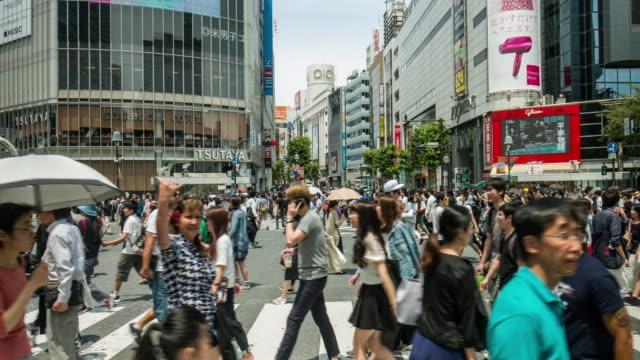 東京の渋谷の交差点のリアルタイム ビデオ ビデオ