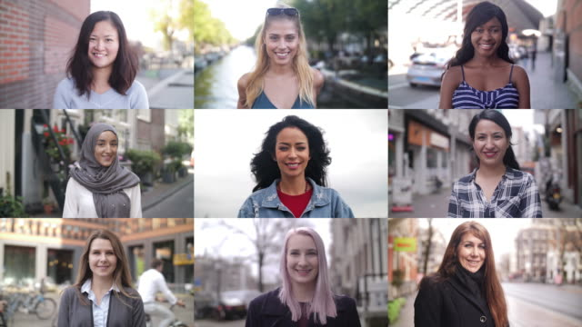 slow motion: real women arount the world smiling - composizione video stock e b–roll