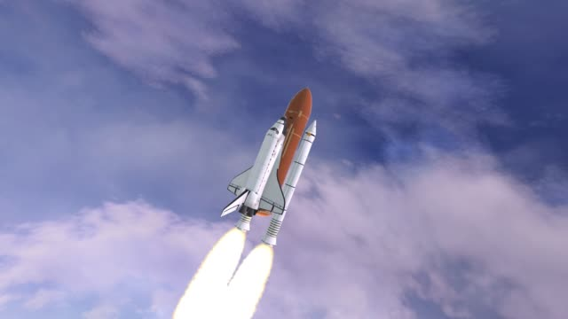Realistic 3D Animation of Space Shuttle Launching over earths atmosphere. Elements of this video furnished by NASA. video