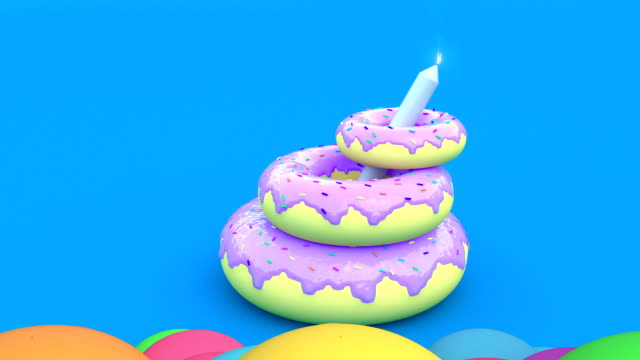 Realistic 3d style Happy Birthday Background. Animated happy birthday candle cake. Balloons take off minimalistic cover footage