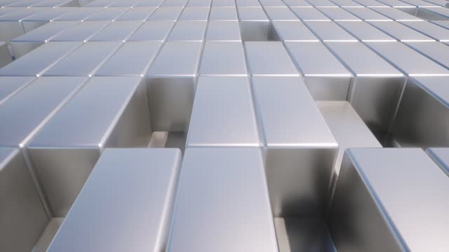 Realistic abstract metal boxes Top view 4k